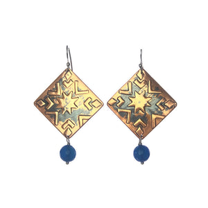 Aztec Pattern Square Copper Earrings