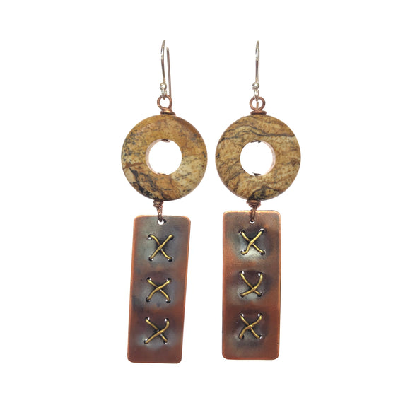 Stone with Cross Stitched Brass Copper Earrings