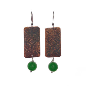 Rectangle Copper Earrings with Emerald Malaysian Jade -Handmade