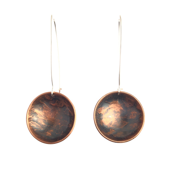 Rippled Inverted Dome Earrings - Handmade
