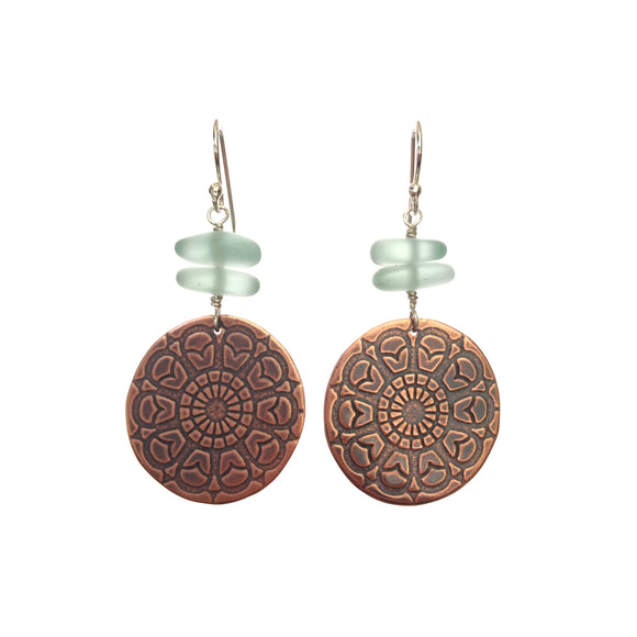 Mandala Imprinted Copper Earrings with Sea Glass