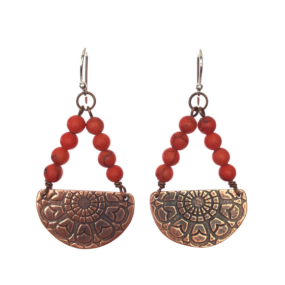 Half Moon Mandala Copper Earrings -Hand made