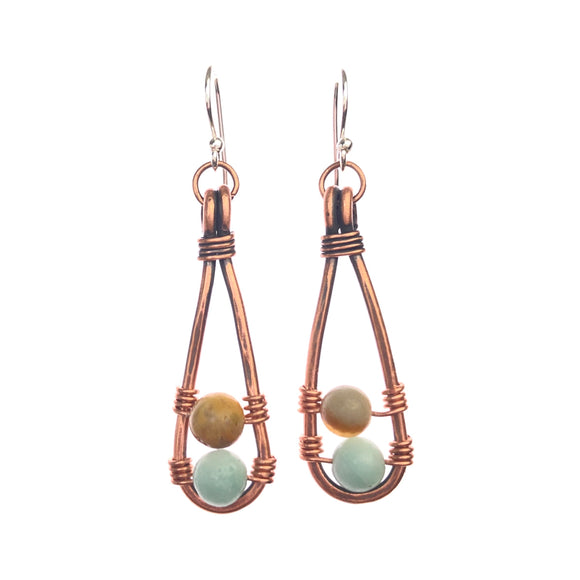Copper Tear Drop Earrings with Amazonia