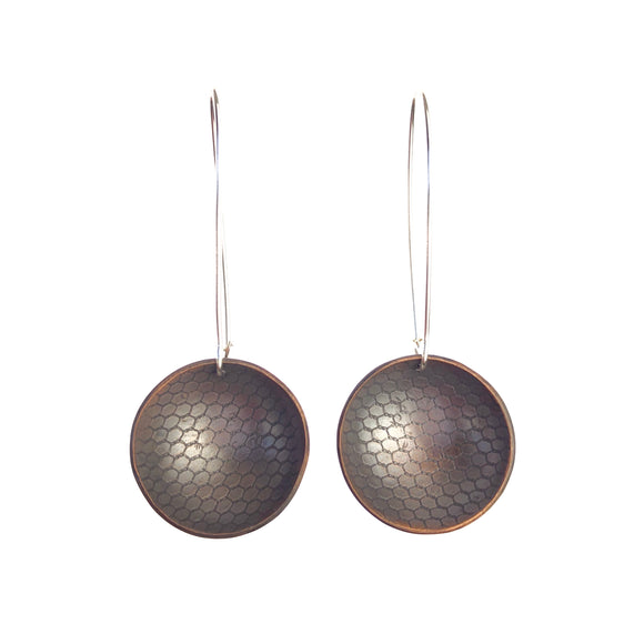 Honeycomb Inverted Dome Earrings -Handmade