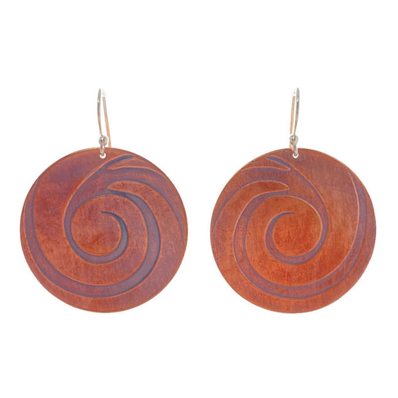 Large Swirl Copper Earrings