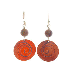 Agate and Swirl Handmade Copper Earrings