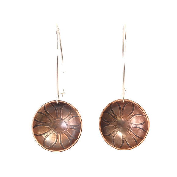 Flower Inverted Dome Copper Earrings