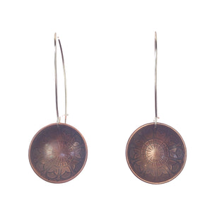 Mandala Inverted Dome Copper Earrings Handmade
