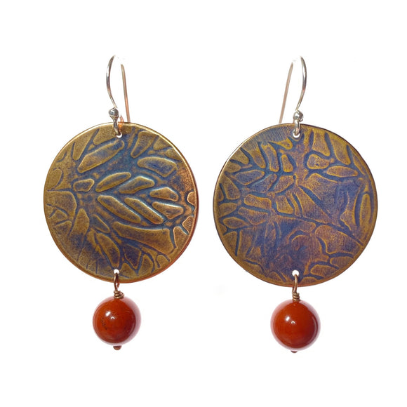 Leaf Textured Copper Earrings with Red Jasper