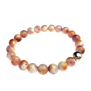 Sunset Malaysian Jade and Sterling Silver Bracelet