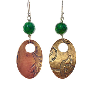 Flower and Leaf Oval Copper Earrings