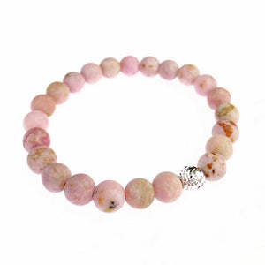 Dusty Pink Agate and Sterling Silver Bracelet