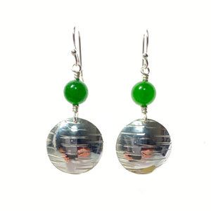 Sterling Silver and Emerald Green Mountain Jade Earrings