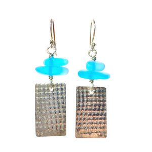 Textured Sterling Silver and Blue Sea Glass Earrings