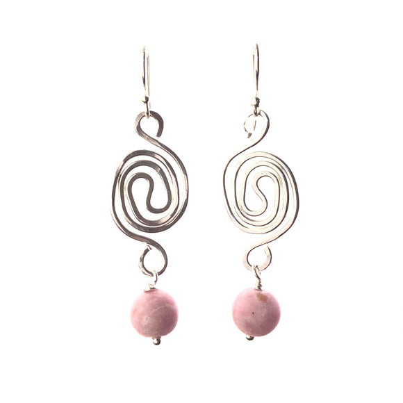 Swirly handmade in Western Australia sterling silver earrings with dusty pink agate suitable for sensitive ears