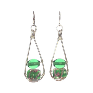 Sterling Silver Tear Drop with Green glass Beads