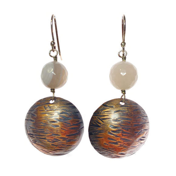 Striped Copper Domes with Striped Grey Agate
