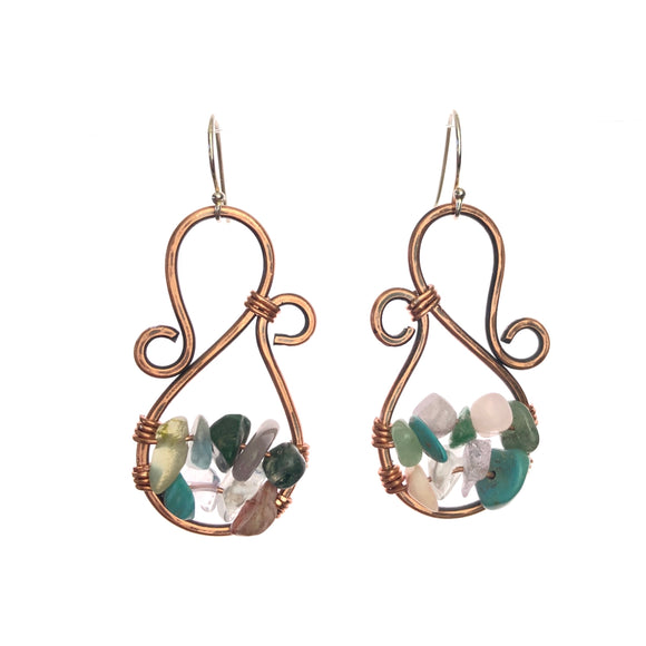 Gem Stone Chip Copper Earrings -Handmade
