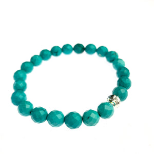 Teal Howlite and Sterling Silver Bracelet