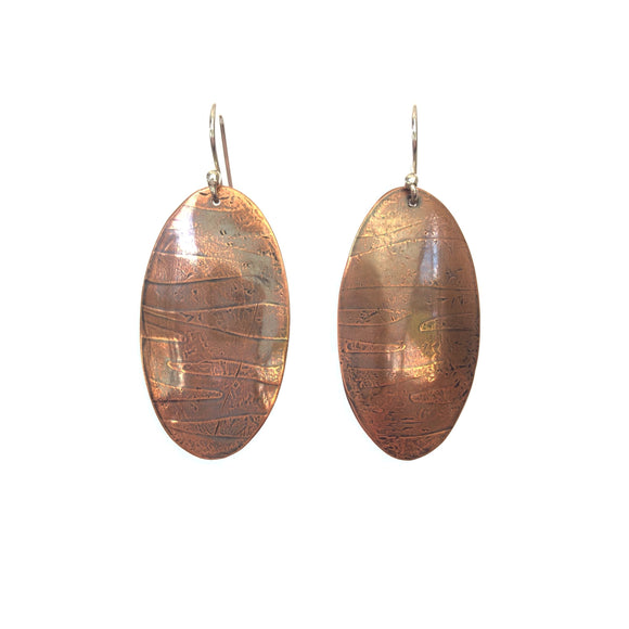 Oval Texture Copper Earrings