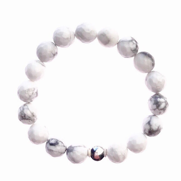 White Faceted Howlite Beaded Bracelet
