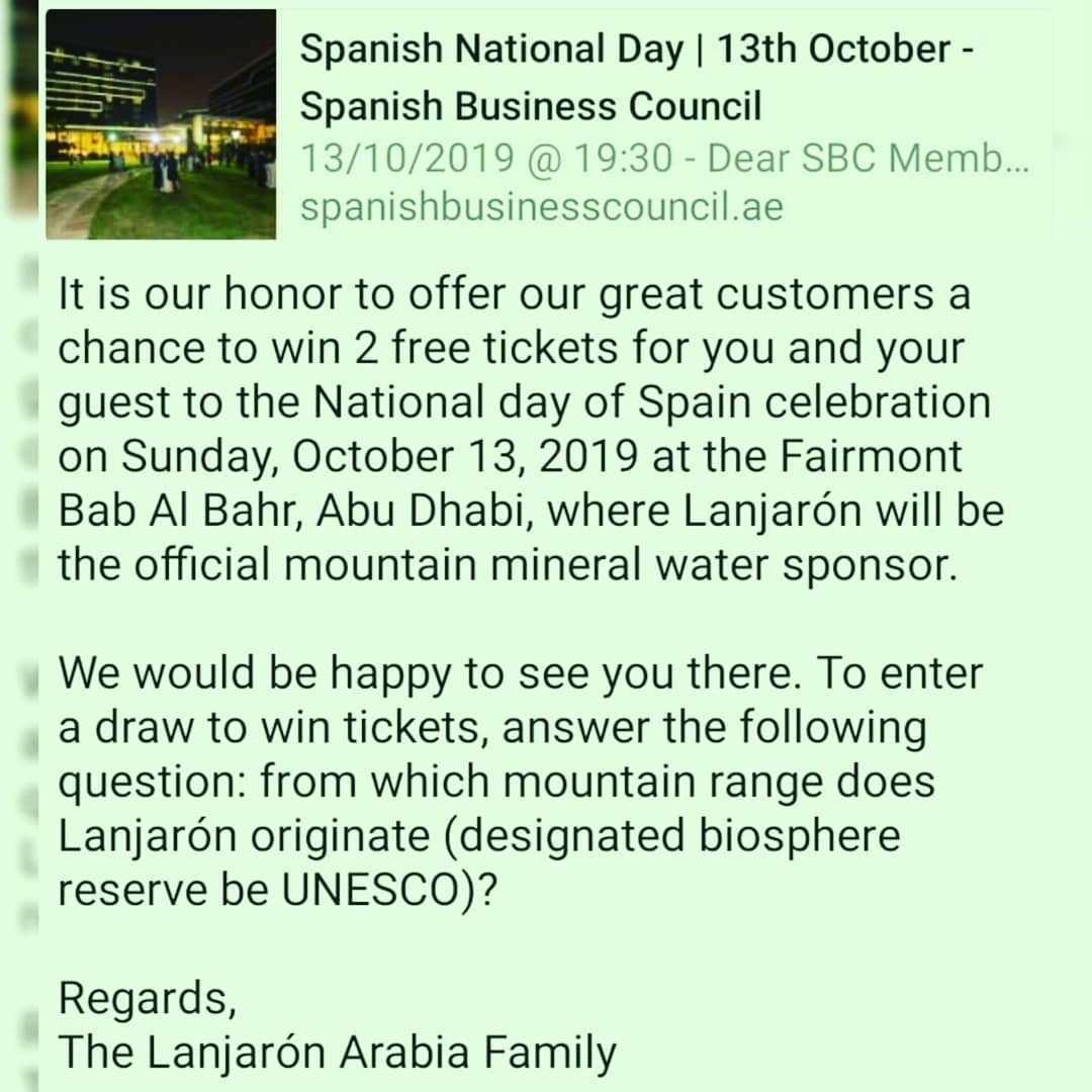 National day of Spain celebration will be on Sunday, October 13, 2019 at the Fairmont Bab Al Bahr, Abu Dhabi, where Lanjarón will be the official mountain mineral water sponsor @fairmontbabalbahr @spaniahbusinesscouncil