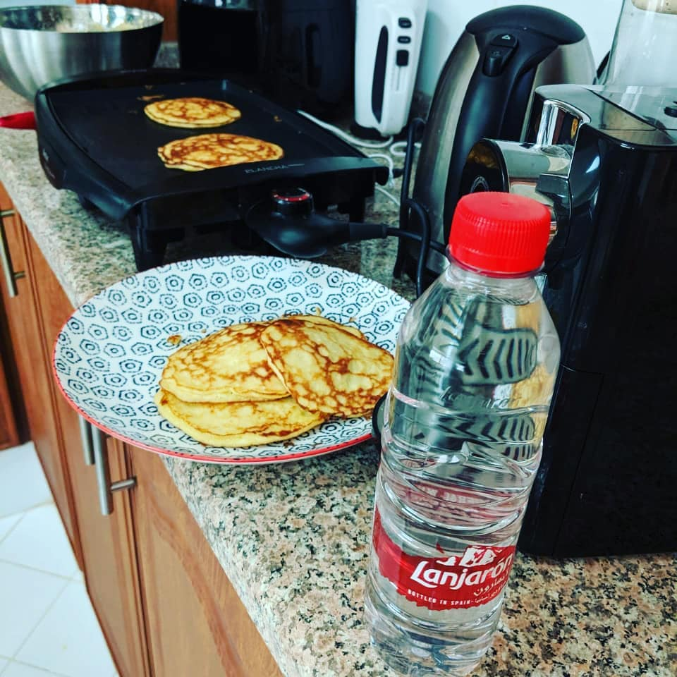 Banana pancakes and Lanjarón mountain mineral water... Not a bad breakfast to get the day started right.