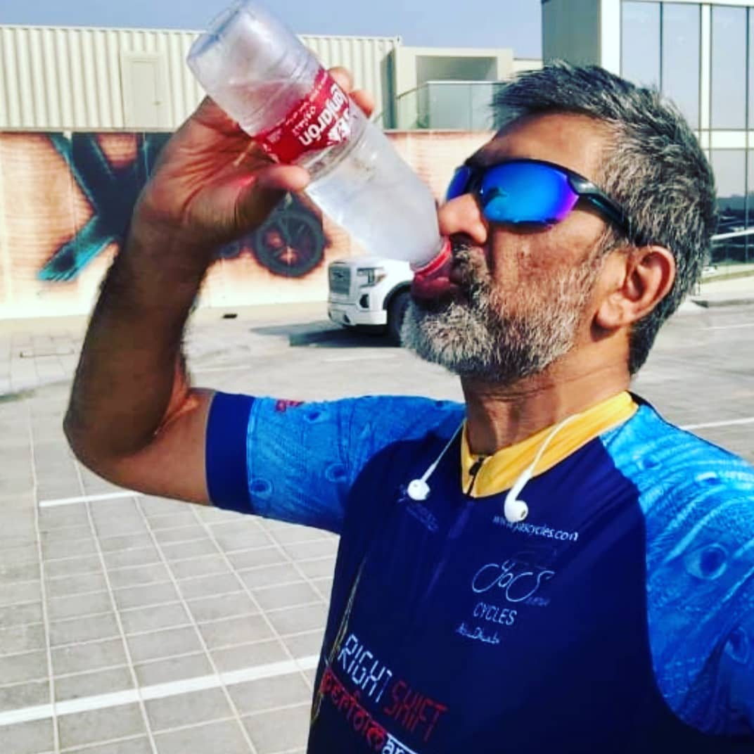 """Drink the right mineral water and ride well with a serviced bike from @yascycles"" says @shifucyclist, after a training ride in preparation for the #Amdavad road race next year."