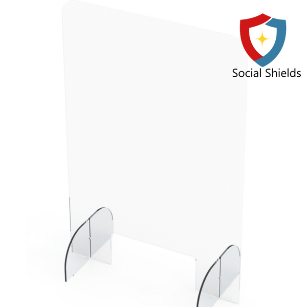 (24W in x 36H in) Regular - Protective Countertop Shield & Plexiglass Sneeze Guards-Business Work Safety Protective Shields, Screens & Gear-Social Shields Canada-#SG243616