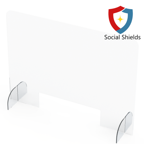 (44W in x 32H in) Regular - Protective Countertop Shield & Plexiglass Sneeze Guards-Business Work Safety Protective Shields, Screens & Gear-Social Shields Canada-#SG443216