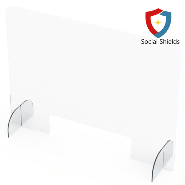 (48W in x 32H in) Regular - Protective Countertop Shield & Plexiglass Sneeze Guards-Business Work Safety Protective Shields, Screens & Gear-Social Shields Canada-#SCS48320