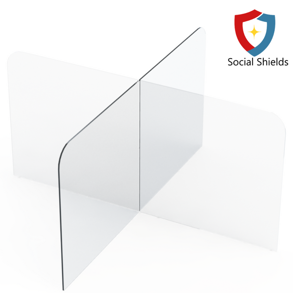 Multi-Section Self Standing Protective Clear Plexiglass Sneeze Guards With Secure Feet-Business Work Safety Protective Shields, Screens & Gear-Social Shields Canada-#SGM4433