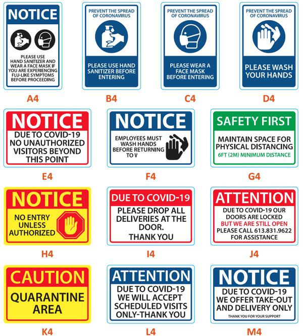 Various vinyl signs (5 per pack)-Business Work Safety Protective Shields, Screens & Gear-Social Shields Canada-