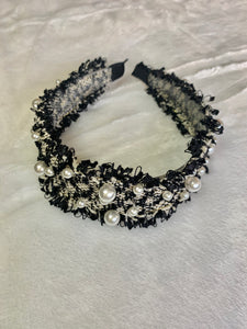 Fringe Tweed Pearl Chanel Look Headband