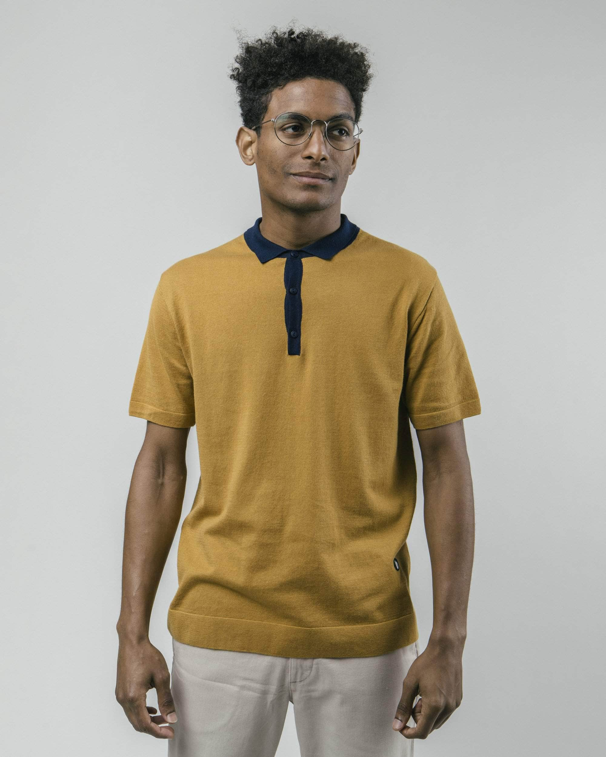 Brava Fabrics - Mens Polo-Shirt - Polo T-Shirt - 100% Organic Cotton - Model Navy Ochre