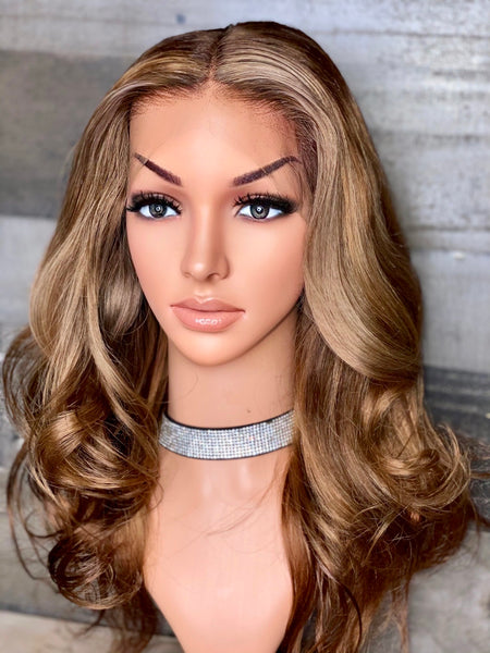 20'' indian loose wavy frontal wig with custom honey color