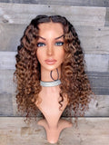 "18"" 360 indian curly wig custom brown ombré"