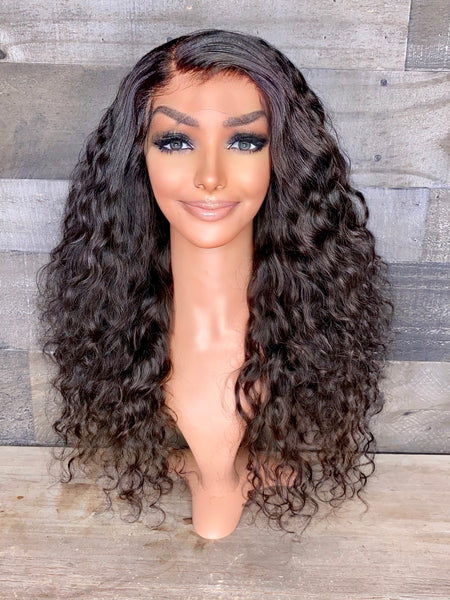"22"" indian raw curly frontal wig high density"