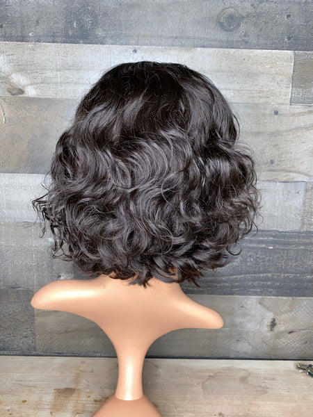 Cute indian loose curls  closure wig 8""
