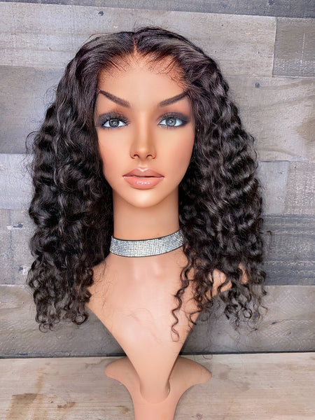 "Indian curly FULL LACE 14"" with transparent lace"