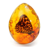 Beautiful Amber Butterfly Insects Stone Pendant Necklace 5*4cm 0.8'' Thickness Gemstone for DIY Jewellery Pendant Crafts
