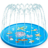 100cm Summer Kids Inflatable Round Water Splash Play Pool Playing Sprinkler Mat Yard Outdoor Fun Multi-colour PVC Material