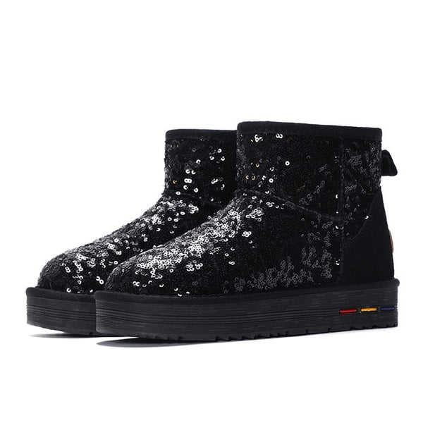 Fashion Women's Winter Snow Boots Australian Style Bling Sequined Cloth Non-Slip Warm Ankle Boots Shoes For Women