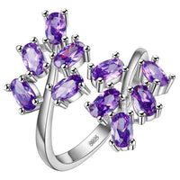 Opening adjustable Silver 925 Jewellery Gemstones Ring for Women Amethyst Ruby Powder crystal Plant Leaf Gift