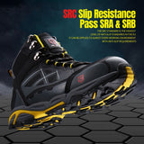 Mens Steel Toe Work Safety Shoes Lightweight Breathable Anti-smashing Anti-puncture Anti-static Protective Boots