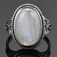 Natural Moonstone Rings for Women's Silver 925 Jewellery Vintage Party Rings With 11x17MM Big Oval Gemstone Gifts