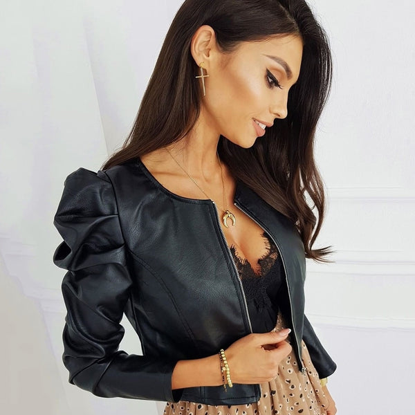 Black Faux Leather Jacket For Women Fashion Pu Leather Lady Coat Jackets With Zipper Outerwear Long Sleeve O Neck Female Top