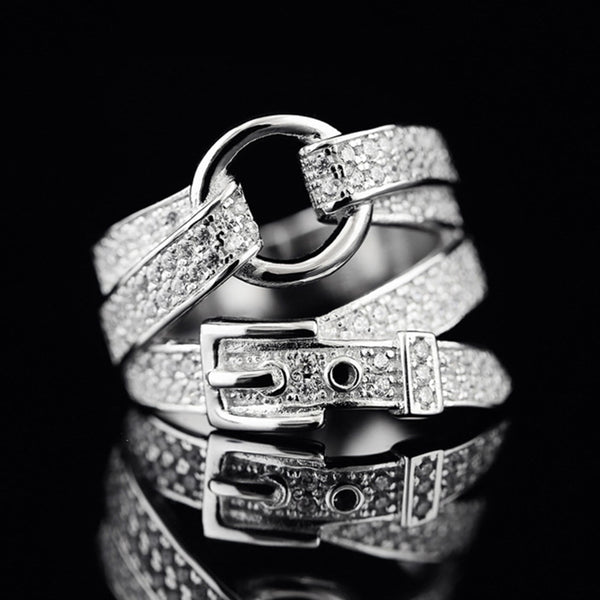 Adjustable Silver Colour Belt Shape Band Ring Crystal Zircon Stone Fashion Jewellery for Women Party Valentine's Day Gift