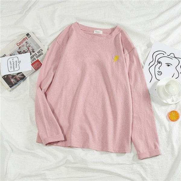 Korean Cartoon Embroidery Loose T Shirt Spring Autumn Long Sleeve Simple T-shirts For Women Harajuku Kawaii Student Shirts Tops