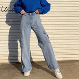 Pockets Patchwork High Waist Jeans Women Street-wear Straight Jean Femme Blue 100% Cotton Cargo Pants